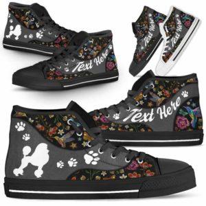 HTS-U-Dog-EmbroideryNa01-Poodle-18@undefined-Colorful Flower Poodle Dog Lovers Canvas Shoes High Top Shoes Gift Men Women. Dog Mom Dog Dad Custom Shoes.