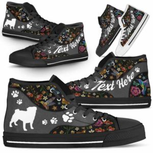 HTS-U-Dog-EmbroideryNa01-Pug-19@undefined-Colorful Flower Pug Dog Lovers Canvas Shoes High Top Shoes Gift Men Women. Dog Mom Dog Dad Custom Shoes.