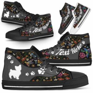 HTS-U-Dog-EmbroideryNa01-Yorkie-25@undefined-Colorful Flower Yorkie Dog Lovers Canvas Shoes High Top Shoes Gift Men Women. Dog Mom Dog Dad Custom Shoes. Yorkshire Terrier