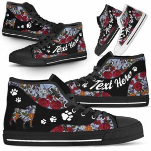 HTS-U-Dog-EmbroideryNa03-Pug-19@undefined-Embroidery Flower Pug Dog Lovers Canvas Shoes High Top Shoes Gift Men Women. Dog Mom Dog Dad Custom Shoes.