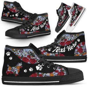 HTS-U-Dog-EmbroideryNa03-Westie-24@undefined-Embroidery Flower Westie Dog Lovers Canvas Shoes High Top Shoes Gift Men Women. Dog Mom Dog Dad Custom Shoes. West Highland Terrier