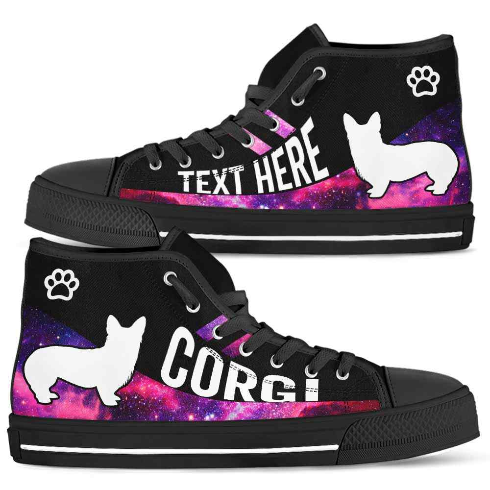 HTS-U-Dog-Galaxy01NaSportline9-Corgi-8@undefined-Corgi Dog Lovers Galaxy Paw Canvas Shoes High Top Shoes Gift Men Women. Dog Mom Dog Dad Custom Shoes.