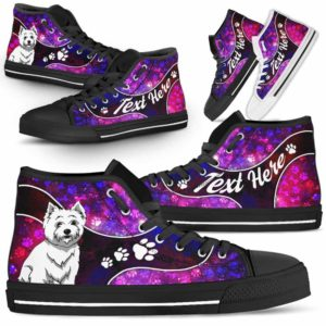 HTS-U-Dog-GalaxyNa01-Westie-62@undefined-Galaxy Paw Westie Dog Lovers Canvas Shoes High Top Shoes Gift Men Women. Dog Mom Dog Dad Custom Shoes. West Highland Terrier