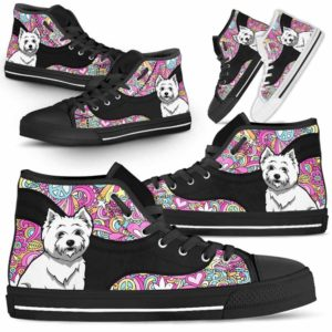 HTS-U-Dog-LovePeaceNa01-Westie-62@undefined-Hippie Peace Love Westie Dog Lovers Canvas Shoes High Top Shoes Gift Men Women. Dog Mom Dog Dad Custom Shoes. West Highland Terrier