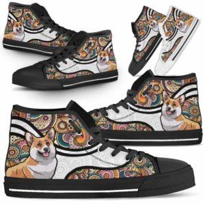 HTS-U-Dog-MandalaNa02-Corgi-18@undefined-Colorful Mandala Corgi Dog Lovers Canvas Shoes High Top Shoes Gift Men Women. Dog Mom Dog Dad Custom Shoes.