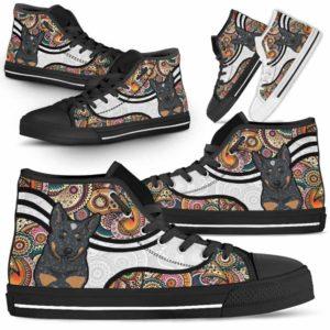 HTS-U-Dog-MandalaNa02-Heeler-35@undefined-Colorful Mandala Heeler Dog Lovers Canvas Shoes High Top Shoes Gift Men Women. Dog Mom Dog Dad Custom Shoes. Australian Cattle