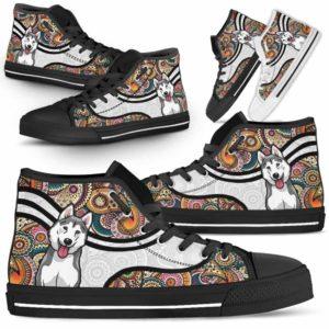 HTS-U-Dog-MandalaNa02-Husky-36@undefined-Colorful Mandala Husky Dog Lovers Canvas Shoes High Top Shoes Gift Men Women. Dog Mom Dog Dad Custom Shoes.
