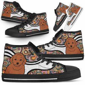 HTS-U-Dog-MandalaNa02-Poodle-45@undefined-Colorful Mandala Poodle Dog Lovers Canvas Shoes High Top Shoes Gift Men Women. Dog Mom Dog Dad Custom Shoes.