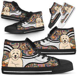 HTS-U-Dog-MandalaNa02-Poodle-46@undefined-Colorful Mandala Poodle Dog Lovers Canvas Shoes High Top Shoes Gift Men Women. Dog Mom Dog Dad Custom Shoes.