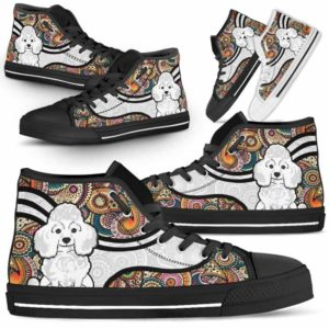 HTS-U-Dog-MandalaNa02-Poodle-47@undefined-Colorful Mandala Poodle Dog Lovers Canvas Shoes High Top Shoes Gift Men Women. Dog Mom Dog Dad Custom Shoes.