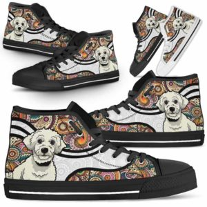HTS-U-Dog-MandalaNa02-Poodle-49@undefined-Colorful Mandala Poodle Dog Lovers Canvas Shoes High Top Shoes Gift Men Women. Dog Mom Dog Dad Custom Shoes.