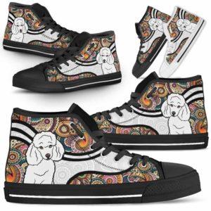 HTS-U-Dog-MandalaNa02-Poodle-50@undefined-Colorful Mandala Poodle Dog Lovers Canvas Shoes High Top Shoes Gift Men Women. Dog Mom Dog Dad Custom Shoes.