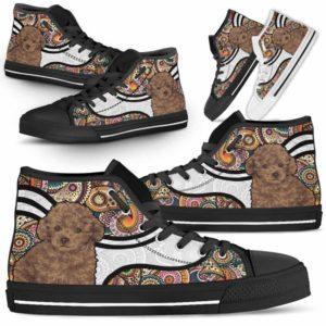 HTS-U-Dog-MandalaNa02-Poodle-51@undefined-Colorful Mandala Poodle Dog Lovers Canvas Shoes High Top Shoes Gift Men Women. Dog Mom Dog Dad Custom Shoes.