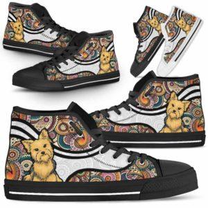 HTS-U-Dog-MandalaNa02-Yorkie-63@undefined-Colorful Mandala Yorkie Dog Lovers Canvas Shoes High Top Shoes Gift Men Women. Dog Mom Dog Dad Custom Shoes. Yorkshire Terrier