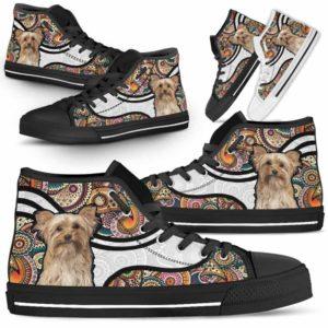 HTS-U-Dog-MandalaNa02-Yorkie-65@undefined-Colorful Mandala Yorkie Dog Lovers Canvas Shoes High Top Shoes Gift Men Women. Dog Mom Dog Dad Custom Shoes. Yorkshire Terrier