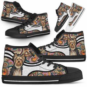 HTS-U-Dog-MandalaNa02-Yorkie-67@undefined-Colorful Mandala Yorkie Dog Lovers Canvas Shoes High Top Shoes Gift Men Women. Dog Mom Dog Dad Custom Shoes. Yorkshire Terrier