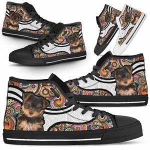 HTS-U-Dog-MandalaNa02-Yorkie-68@undefined-Colorful Mandala Yorkie Dog Lovers Canvas Shoes High Top Shoes Gift Men Women. Dog Mom Dog Dad Custom Shoes. Yorkshire Terrier