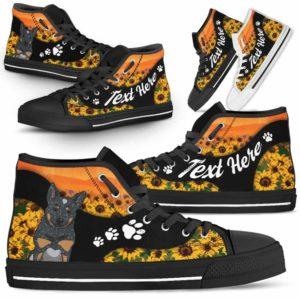 HTS-U-Dog-SunflowerNa02-Heeler-35@undefined-Flower Sunflower Heeler Dog Lovers Canvas Shoes High Top Shoes Gift Men Women. Dog Mom Dog Dad Custom Shoes. Australian Cattle