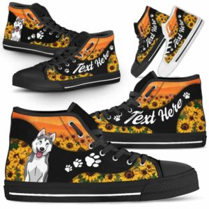 HTS-U-Dog-SunflowerNa02-Husky-36@undefined-Flower Sunflower Husky Dog Lovers Canvas Shoes High Top Shoes Gift Men Women. Dog Mom Dog Dad Custom Shoes.