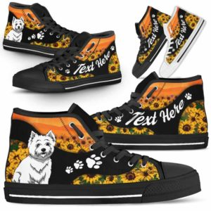 HTS-U-Dog-SunflowerNa02-Westie-62@undefined-Flower Sunflower Westie Dog Lovers Canvas Shoes High Top Shoes Gift Men Women. Dog Mom Dog Dad Custom Shoes. West Highland Terrier