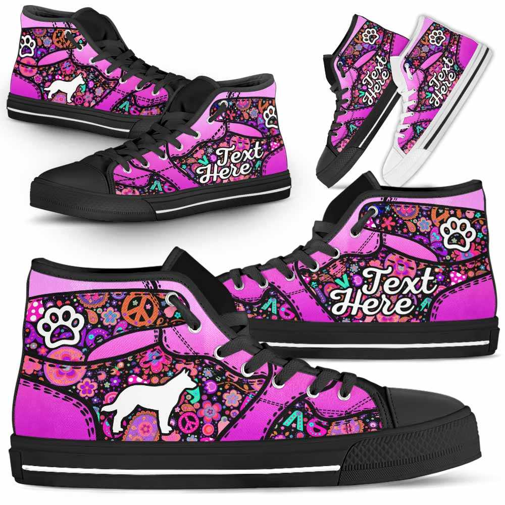 HTS-W-Dog-LovenPeaceNa022-Heeler-15@undefined-Heeler Dog Lovers Hippie Paw Canvas Shoes High Top Shoes Gift Men Women. Dog Mom Dog Dad Custom Shoes. Australian Cattle