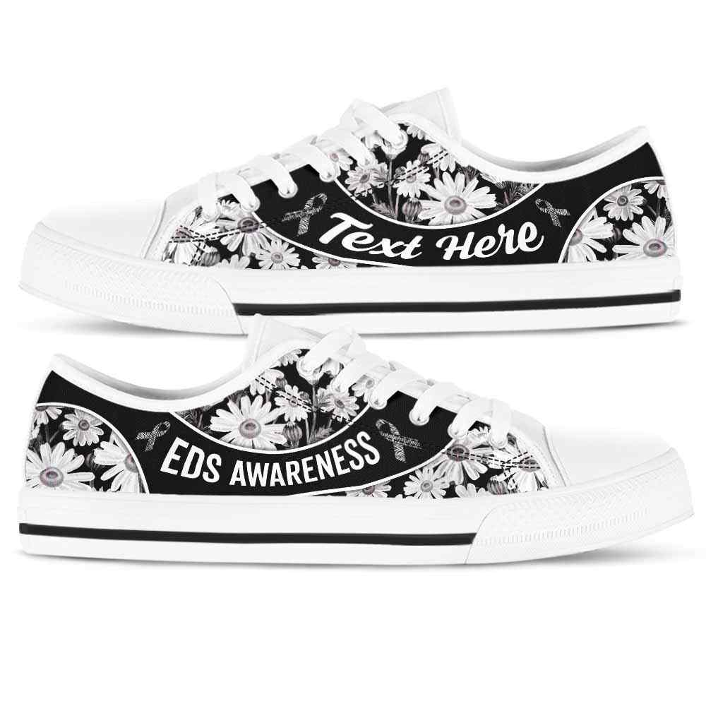 LTS-U-Awareness-DaisyNa023-EDS-19@undefined-Eds Ehlers Danlos Syndrom Awareness Ribbon Daisy Flower Tennis Shoes Gym Low Top Shoes. Women Men Custom Gift.