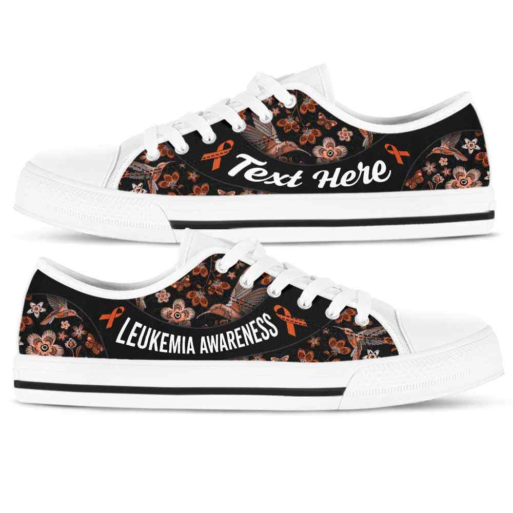 LTS-U-Awareness-EmbroideryNa013-Leukem-24@undefined-Leukemia Awareness Ribbon Flower Embroidery Tennis Shoes Gym Low Top Shoes. Women Men Custom Gift.