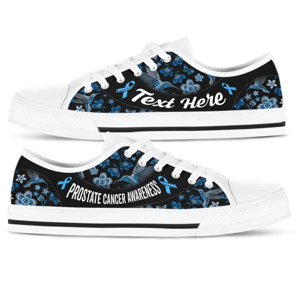 LTS-U-Awareness-EmbroideryNa013-ProCan-33@undefined-Prostate Cancer Awareness Ribbon Flower Embroidery Tennis Shoes Gym Low Top Shoes. Women Men Custom Gift.