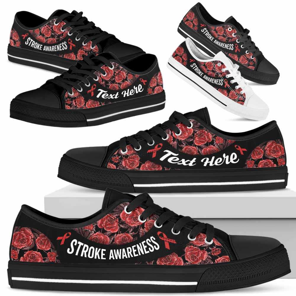 LTS-U-Awareness-EmbroideryNa023-Stroke-38@undefined-Stroke Awareness Ribbon Rose Flower Tennis Shoes Gym Low Top Shoes. Women Men Custom Gift.