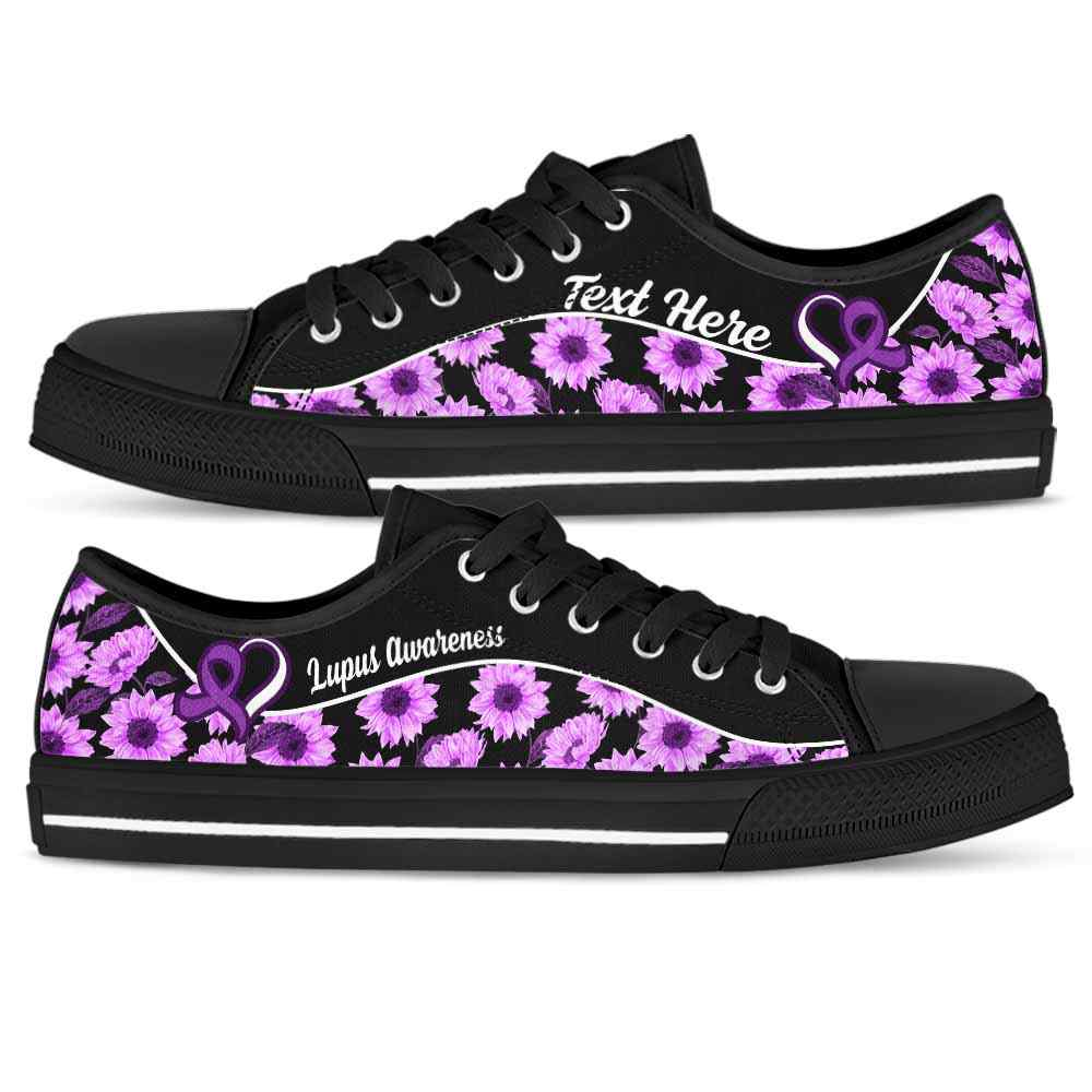 LTS-U-Awareness-Sunflower01NaSportline10-Lupus-26@undefined-Lupus Awareness Ribbon Sunflower Tennis Shoes Gym Low Top Shoes. Women Men Custom Gift.