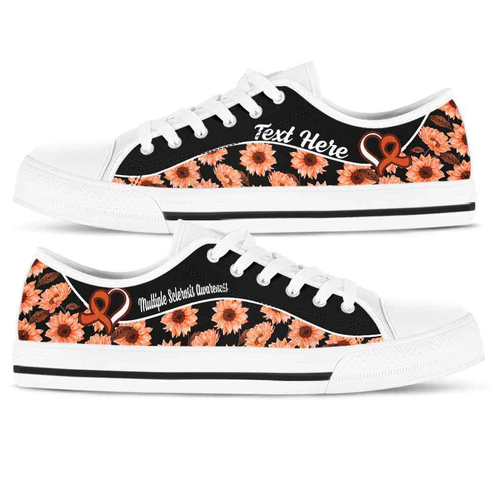 LTS-U-Awareness-Sunflower01NaSportline10-MulScl-29@undefined-Multiple Sclerosis Awareness Ribbon Sunflower Tennis Shoes Gym Low Top Shoes. Women Men Custom Gift.