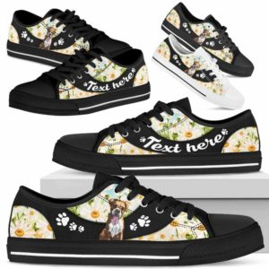 LTS-U-Dog-DaisyNa023-Boxer-9@undefined-Boxer Dog Lovers Daisy Flower Tennis Shoes Gym Low Top Shoes Gift Men Women. Dog Mom Dog Dad Custom Shoes.