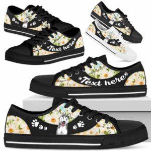 LTS-U-Dog-DaisyNa023-Husky-36@undefined-Husky Dog Lovers Daisy Flower Tennis Shoes Gym Low Top Shoes Gift Men Women. Dog Mom Dog Dad Custom Shoes.