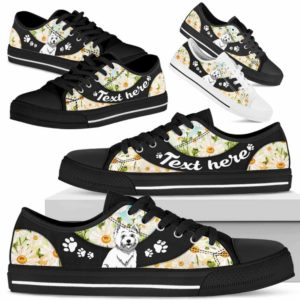LTS-U-Dog-DaisyNa023-Westie-62@undefined-Westie Dog Lovers Daisy Flower Tennis Shoes Gym Low Top Shoes Gift Men Women. Dog Mom Dog Dad Custom Shoes. West Highland White Terrier