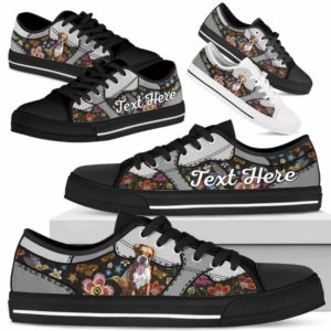 LTS-U-Dog-EmbroideryNa013-Boxer-9@undefined-Boxer Dog Lovers Flower Embroidery Tennis Shoes Gym Low Top Shoes Gift Men Women. Dog Mom Dog Dad Custom Shoes.