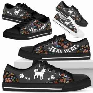 LTS-U-Dog-EmbroideryNa013-Husky-16@undefined-Husky Dog Lovers Flower Embroidery Tennis Shoes Gym Low Top Shoes Gift Men Women. Dog Mom Dog Dad Custom Shoes.