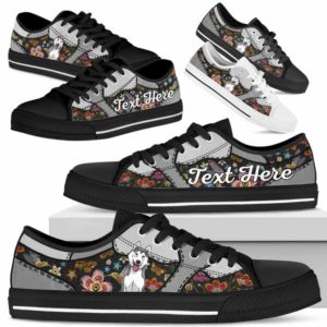 LTS-U-Dog-EmbroideryNa013-Husky-36@undefined-Husky Dog Lovers Flower Embroidery Tennis Shoes Gym Low Top Shoes Gift Men Women. Dog Mom Dog Dad Custom Shoes.