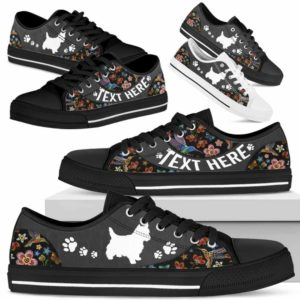 LTS-U-Dog-EmbroideryNa013-Westie-24@undefined-Westie Dog Lovers Flower Embroidery Tennis Shoes Gym Low Top Shoes Gift Men Women. Dog Mom Dog Dad Custom Shoes. West Highland White Terrier