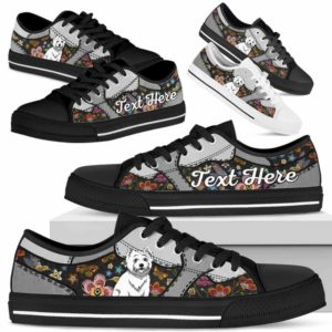 LTS-U-Dog-EmbroideryNa013-Westie-62@undefined-Westie Dog Lovers Flower Embroidery Tennis Shoes Gym Low Top Shoes Gift Men Women. Dog Mom Dog Dad Custom Shoes. West Highland White Terrier