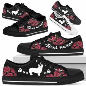 LTS-U-Dog-EmbroideryNa023-Corgi-8@undefined-Corgi Dog Lovers Rose Flower Tennis Shoes Gym Low Top Shoes Gift Men Women. Dog Mom Dog Dad Custom Shoes.