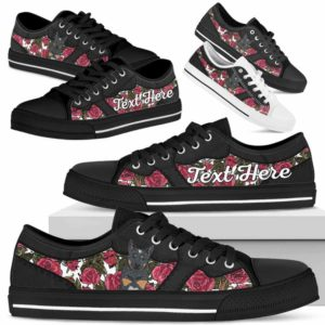 LTS-U-Dog-EmbroideryNa023-Heeler-35@undefined-Heeler Dog Lovers Rose Flower Tennis Shoes Gym Low Top Shoes Gift Men Women. Dog Mom Dog Dad Custom Shoes. Australian Cattle