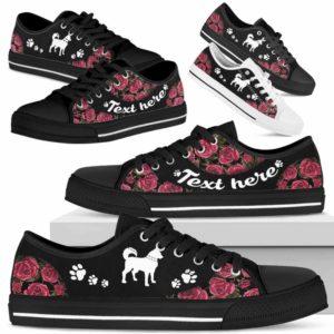 LTS-U-Dog-EmbroideryNa023-Husky-16@undefined-Husky Dog Lovers Rose Flower Tennis Shoes Gym Low Top Shoes Gift Men Women. Dog Mom Dog Dad Custom Shoes.