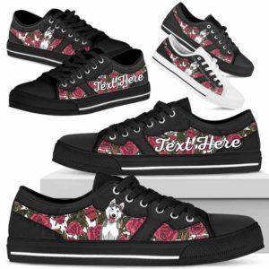 LTS-U-Dog-EmbroideryNa023-Husky-36@undefined-Husky Dog Lovers Rose Flower Tennis Shoes Gym Low Top Shoes Gift Men Women. Dog Mom Dog Dad Custom Shoes.