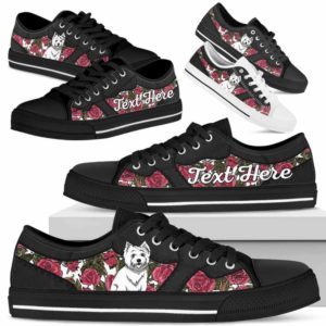 LTS-U-Dog-EmbroideryNa023-Westie-62@undefined-Westie Dog Lovers Rose Flower Tennis Shoes Gym Low Top Shoes Gift Men Women. Dog Mom Dog Dad Custom Shoes. West Highland White Terrier