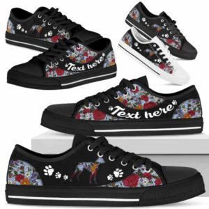 LTS-U-Dog-EmbroideryNa033-Boxer-4@undefined-Boxer Dog Lovers Flower Embroidery Tennis Shoes Gym Low Top Shoes Gift Men Women. Dog Mom Dog Dad Custom Shoes.