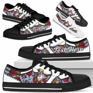 LTS-U-Dog-EmbroideryNa033-Boxer-9@undefined-Boxer Dog Lovers Flower Embroidery Tennis Shoes Gym Low Top Shoes Gift Men Women. Dog Mom Dog Dad Custom Shoes.