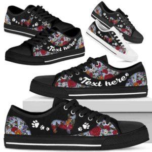 LTS-U-Dog-EmbroideryNa033-Corgi-8@undefined-Corgi Dog Lovers Flower Embroidery Tennis Shoes Gym Low Top Shoes Gift Men Women. Dog Mom Dog Dad Custom Shoes.
