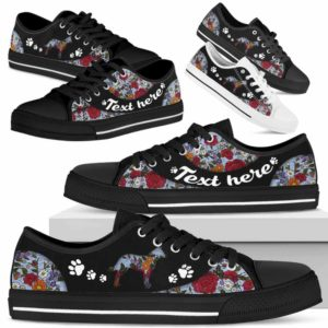 LTS-U-Dog-EmbroideryNa033-Heeler-15@undefined-Heeler Dog Lovers Flower Embroidery Tennis Shoes Gym Low Top Shoes Gift Men Women. Dog Mom Dog Dad Custom Shoes. Australian Cattle