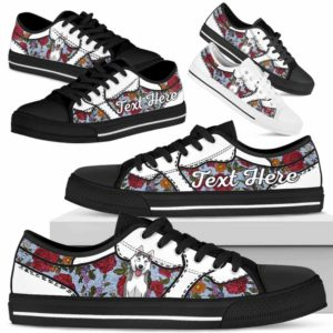 LTS-U-Dog-EmbroideryNa033-Husky-36@undefined-Husky Dog Lovers Flower Embroidery Tennis Shoes Gym Low Top Shoes Gift Men Women. Dog Mom Dog Dad Custom Shoes.