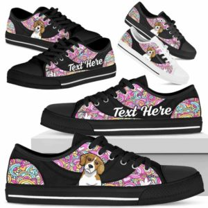 LTS-U-Dog-LovePeaceNa013-Beagle-4@undefined-Beagle Dog Lovers Hippie Tennis Shoes Gym Low Top Shoes Gift Men Women. Dog Mom Dog Dad Custom Shoes.